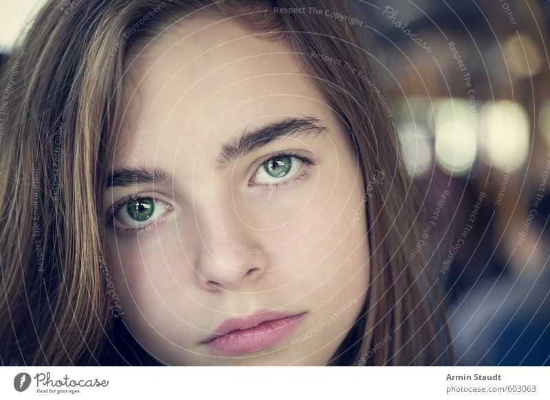 Human being Woman Child Youth (Young adults) Beautiful Green Relaxation Calm Adults Sadness Feminine Natural Moody Sit 13 - 18 years Authentic