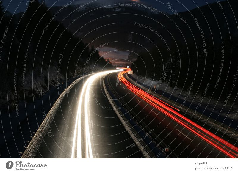where do they go Long exposure Winter Highway Tauern highway Red White Night Light Snow Alps Mountain Car Street