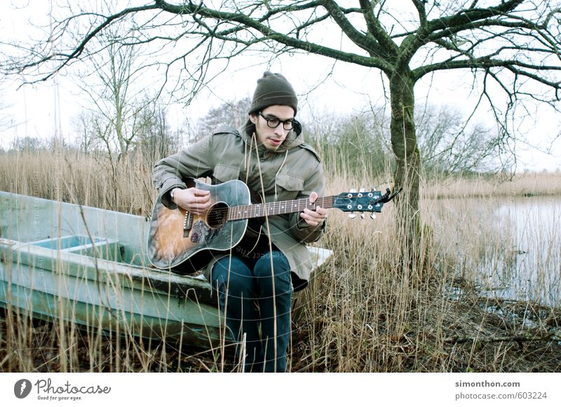 musicians Lifestyle Leisure and hobbies Vacation & Travel Camping Masculine 1 Human being Artist Music Singer Musician Guitar Nature Esthetic Emotions Sadness