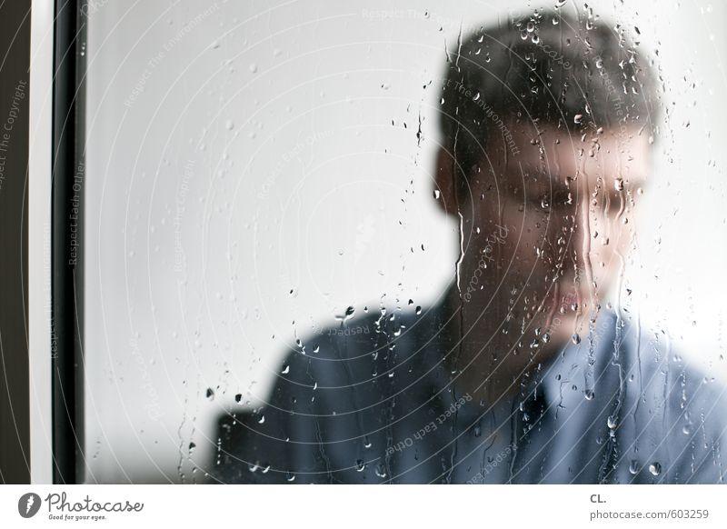 Human being Man Blue Loneliness Adults Window Sadness Autumn Gray Head Rain Masculine Flat (apartment) Meditative Gloomy Sit