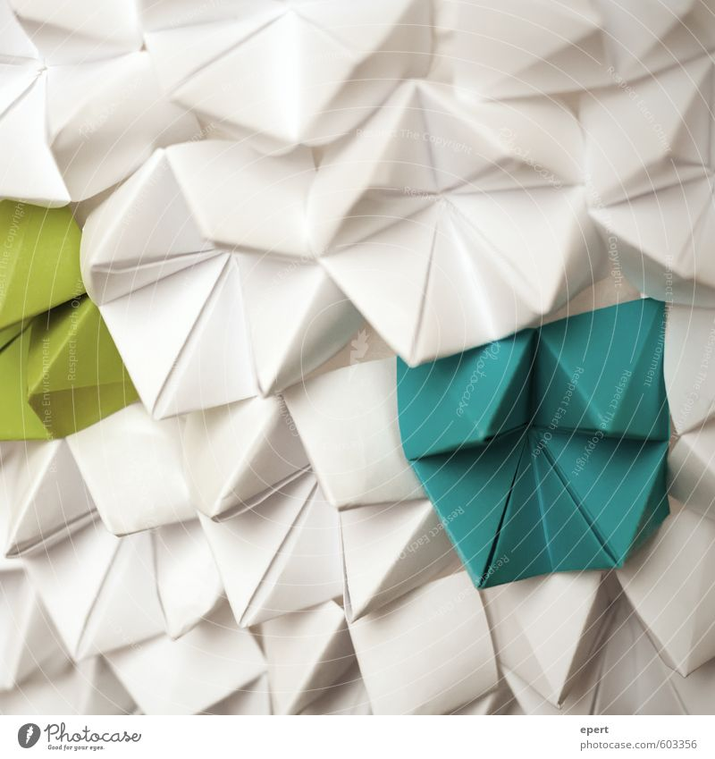 Blue Green White Art Leisure and hobbies Design Decoration Esthetic Simple Uniqueness Creativity Paper Idea Inspiration Work of art Handicraft