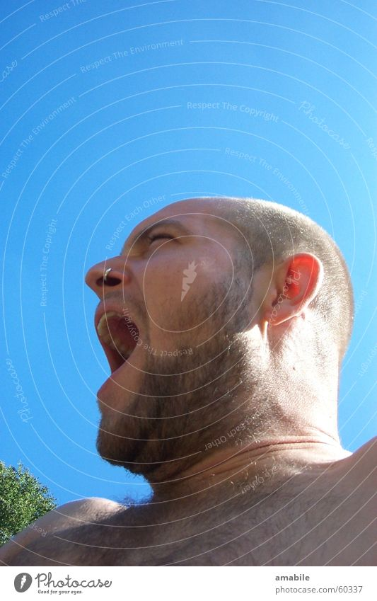 cry for liberation Portrait photograph Man Yawn Facial hair Blue sky Scream