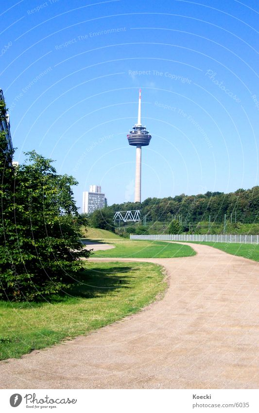 Green Lanes & trails Architecture Bridge Bushes Tower Cologne Television tower Frankfurt Deutsche Telekom Mediapark