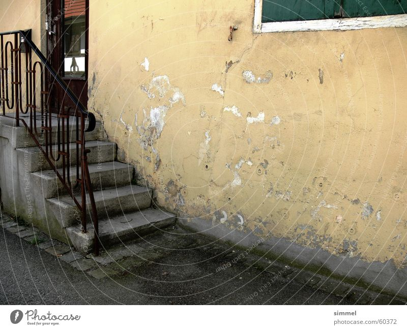 Freshly plastered *g* House (Residential Structure) Stairs Yellow Plaster Dirty Nostalgia architecture scratch Old Mold