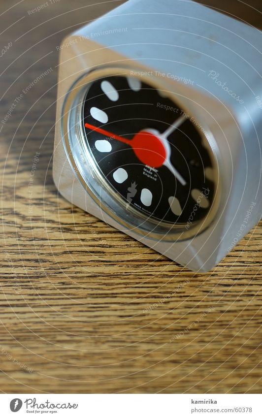 Old Style Metal Time Clock Statue Seventies Sixties Aluminium Alarm clock Old-school Clock hand Tick tock