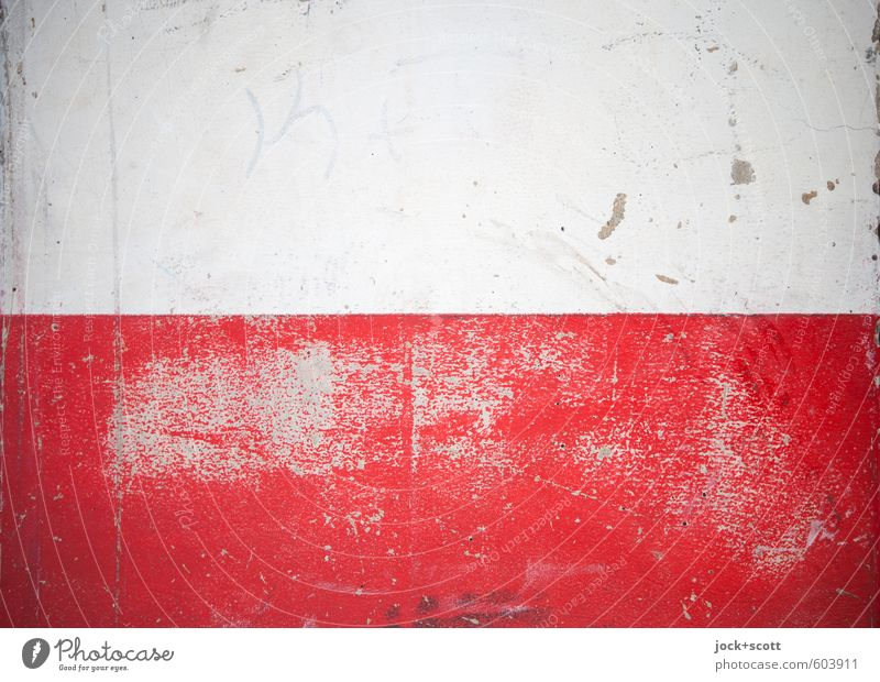 Open space with time Wall (building) Facade Stripe Simple Firm Broken Red White Rendered facade Scrape Surface structure Coat of paint Quirk Tracks Abrasion