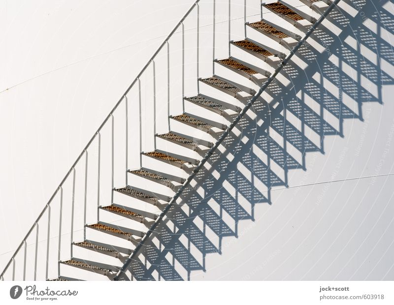 Stairs from time to time Industry Silo Metal Fantastic Bright Long Modern White Quality Planning Symmetry Irritation Change Handrail Diagonal Illusion Gradation