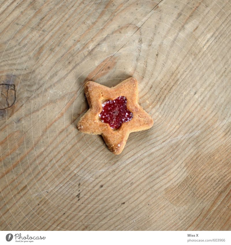 postfestival Food Dough Baked goods Candy Jam Nutrition To have a coffee Small Delicious Sweet Star (Symbol) Cookie Christmas biscuit Wooden table Wood grain