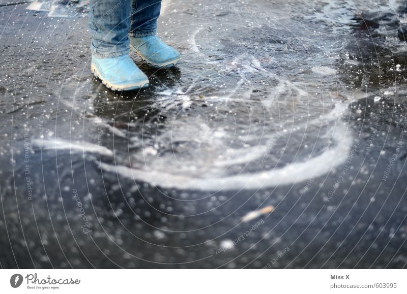 crack Playing Child Boy (child) 1 Human being Water Winter Bad weather Ice Frost Pond Rubber boots Broken Emotions Moody Fear Dangerous Threat Puddle Frozen