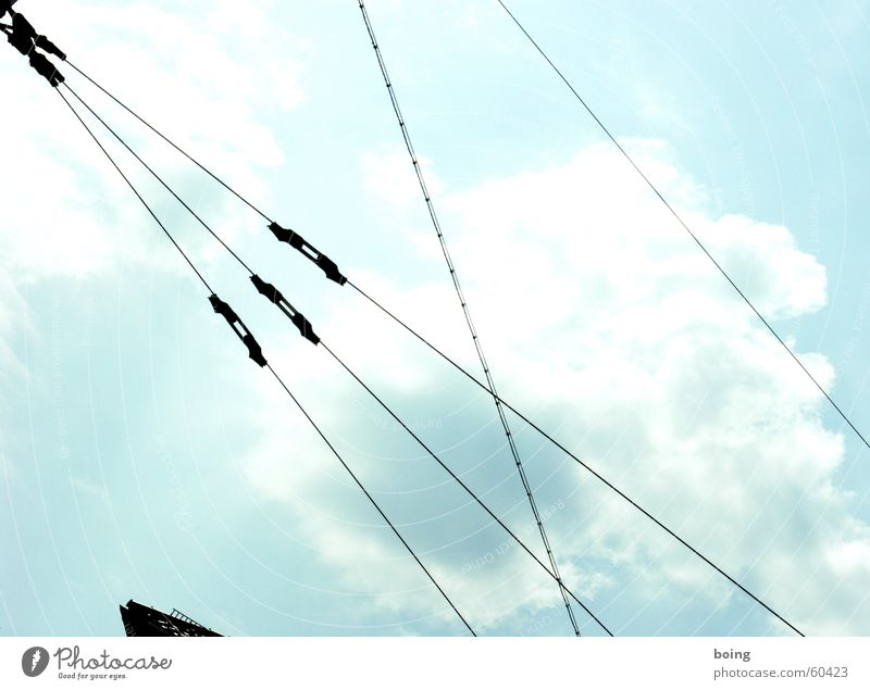 40 MB per 100 km UFO Cable Steel cable Electricity Tram Muddled Zigzag Firm Line Tense Safety Sky nice cloud such a part