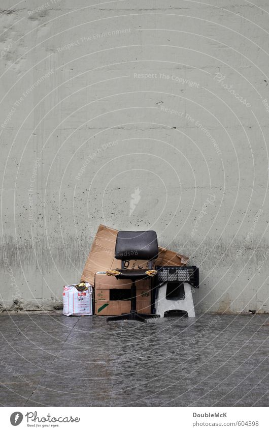 Old Loneliness Gray Brown Dirty Wait Poverty Wet Broken Drop Chair Moving (to change residence) Trash Furniture End Cardboard