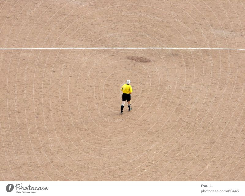 referee Middle Playing Football pitch Man Senior citizen Going Jersey Leisure and hobbies Sports white hair yellow shirt black pants Loneliness Soccer Line
