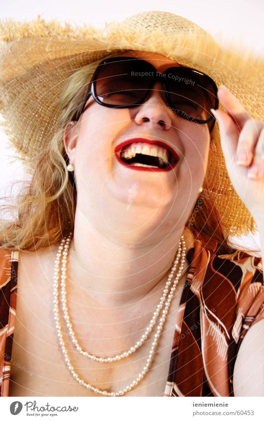 Woman Summer Joy Laughter Teeth Hat Sunglasses Eyeglasses Pearl necklace