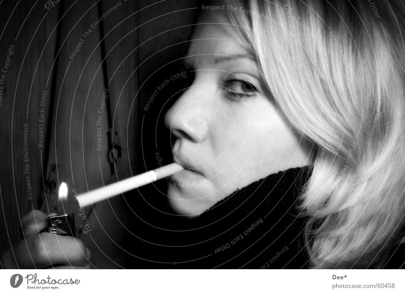 Caught smoking... Woman Cigarette Blonde Lighter Hand Fingers Intoxicant Tobacco Smoking Face Human being Hair and hairstyles Blaze Black & white photo Eyes