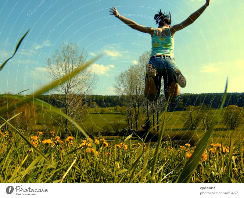 Human being Flower Joy Meadow Jump Style Blossom Grass Spring Landscape Flying Dandelion Hop