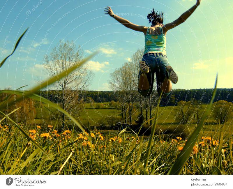 Human being Flower Joy Meadow Jump Style Blossom Grass Spring Landscape Flying Dandelion Hop