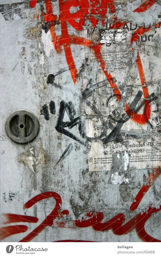 power box Red Gray Door handle Poster Broken Label To make dirty Daub Gloomy Town Spray Settlement Scrap Traces of glue Art Electricity Remainder Graffiti Box