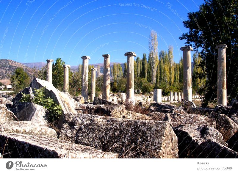 Vacation & Travel Stone Warmth Architecture Broken Physics Ruin Column Destruction Turkey