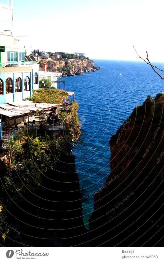 Antalya Sea Ocean Lake Cliff Physics Bar Café House (Residential Structure) Turkey sea Water Warmth Sun Stone
