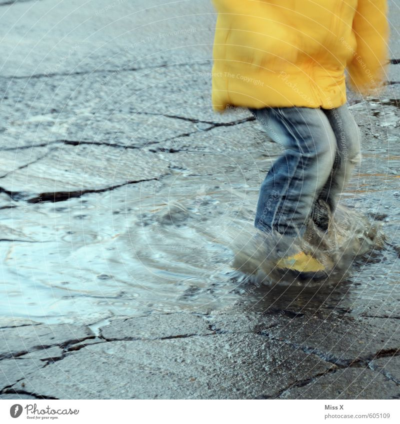 Human being Child Water Joy Winter Emotions Autumn Lanes & trails Boy (child) Playing Swimming & Bathing Moody Weather Rain Leisure and hobbies Dirty