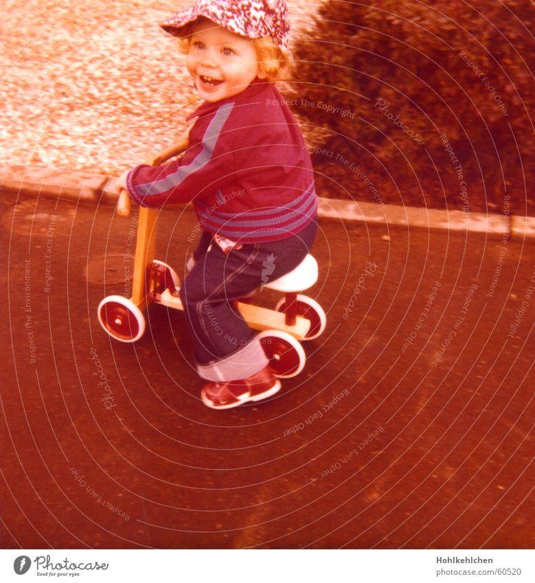 Child Joy Street Boy (child) Laughter Orange Retro Jeans Toys Jacket Hat Seventies Pride Scooter Rocker 1979