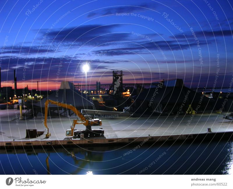 Evening atmosphere at the harbour I Excavator Ocean Jetty Twilight Closing time Port Sky Sunset Harbour Industrial Photography
