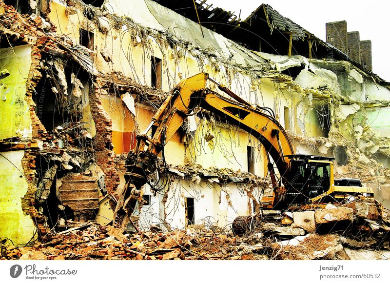 destruction. Dismantling Excavator Construction site Destruction Rip Annihilate dig