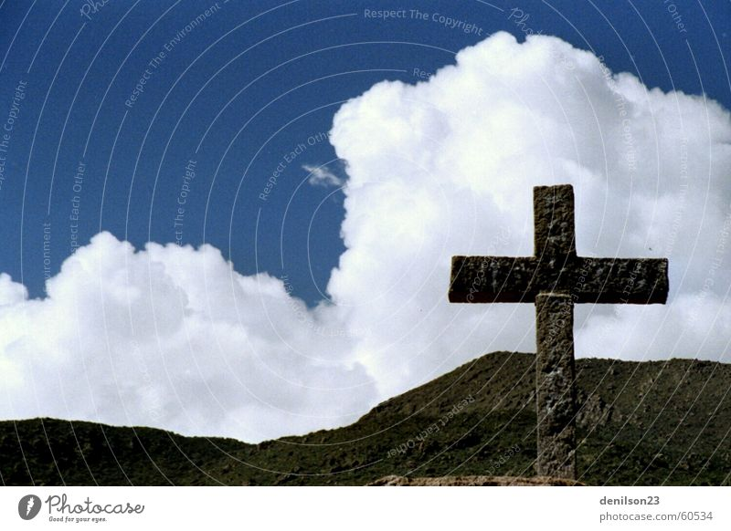 Blue sky and the cross Peru Clouds Religion and faith Sky Back Andes