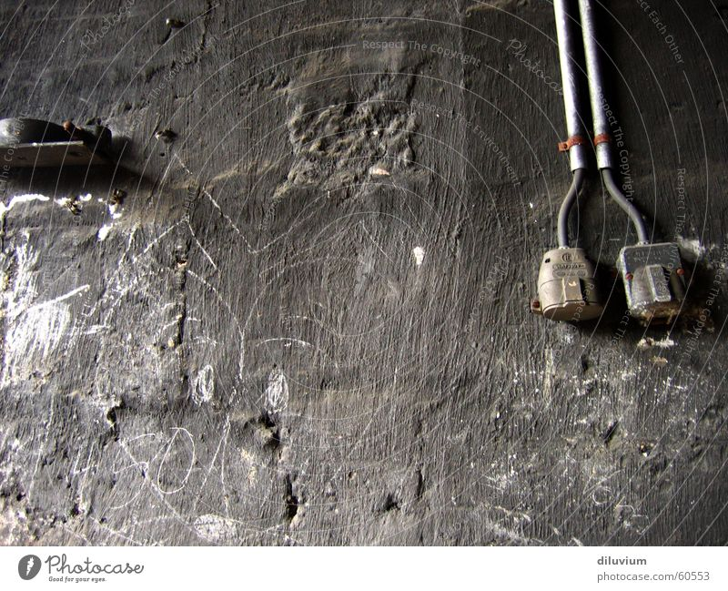 black wall Black Dark Socket White Soot Painting (action, work) Transmission lines Cable