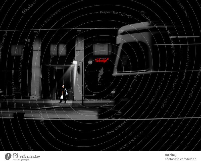 Man City Loneliness Dark Sadness Railroad Grief Lantern Switzerland Street lighting Store premises Foreign Zurich Tram