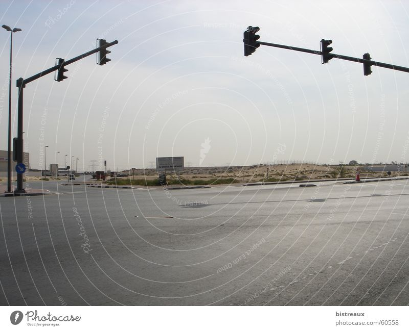 Street Desert Traffic light Mixture Dubai Near and Middle East Foreign countries