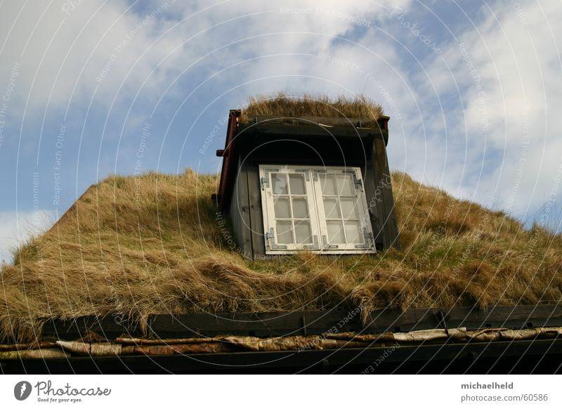 Sky Blue Clouds Window Grass Roof Blade of grass Scandinavia Eaves Denmark Rain gutter Føroyar Fieldstone house Wooden window Tórshavn