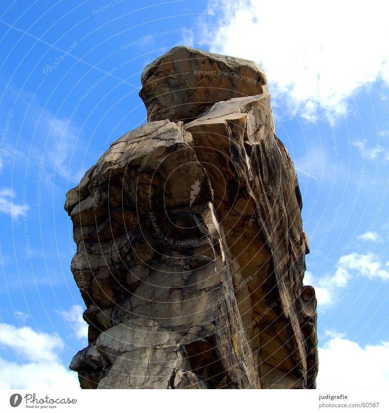 Nature Sky Blue Clouds Stone Landscape Rock Tall Harz Erosion Sandstone Sediment Ice age Quartz Cretaceous period