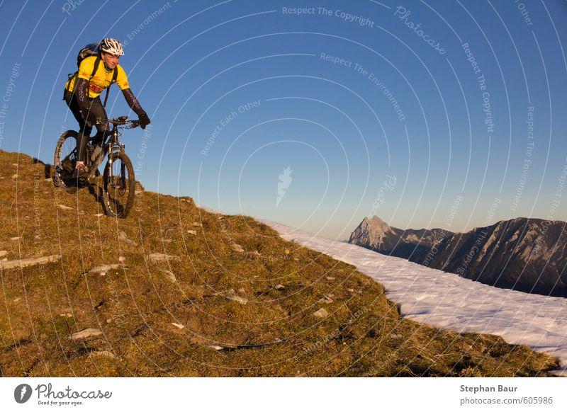 Mountainbiking Juifen Leisure and hobbies Tourism Sports Climbing Mountaineering Hiking Bicycle Nature Landscape Autumn Beautiful weather Hill Rock Alps Peak