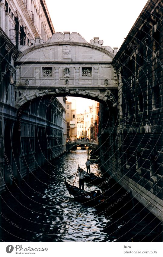 Old Architecture Bridge Romance Italy Historic Venice Old town Gondola (Boat) Boating trip Right ahead City trip Gracht Gondolier Historic Buildings
