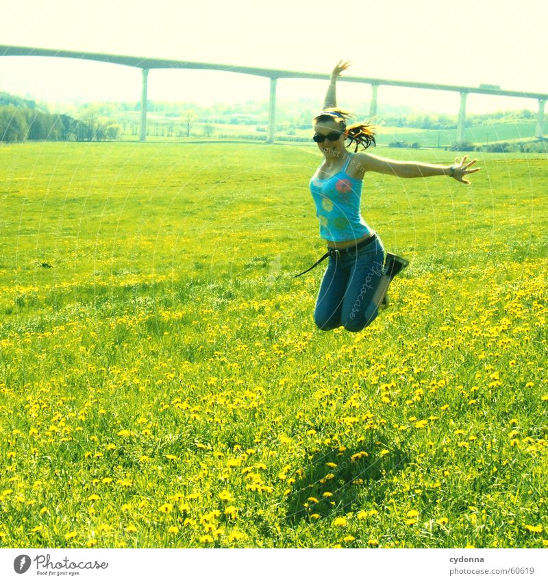 take off twice... Jump Hop Spring Meadow Dandelion Blossom Flower Grass Style Sunglasses Flying Joy Landscape Human being Bridge