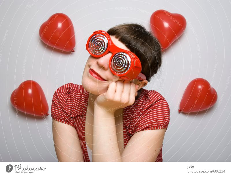 pink glasses I Valentine's Day Feminine Young woman Youth (Young adults) Woman Adults Balloon Heart Smiling Love Dream Happiness Happy Red Contentment