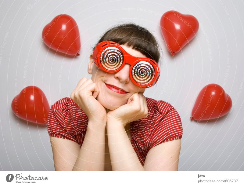 rose-colored glasses II Flirt Valentine's Day Carnival Feminine Young woman Youth (Young adults) Woman Adults Eyeglasses Balloon Heart To enjoy Smiling Love