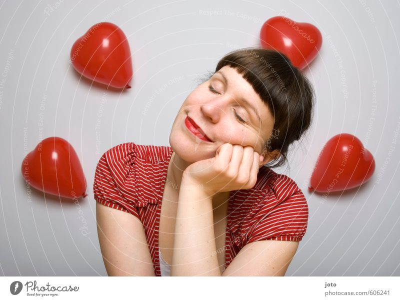 Thoughts are free Valentine's Day Feminine Young woman Youth (Young adults) Woman Adults Balloon Heart Smiling Love Dream Happiness Happy Red Contentment