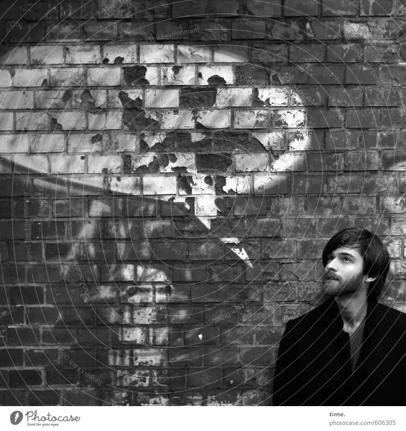 Text space | create an idea Human being Masculine 1 Wall (barrier) Wall (building) Hair and hairstyles Beard Stone Brick Graffiti Speech bubble To talk Looking