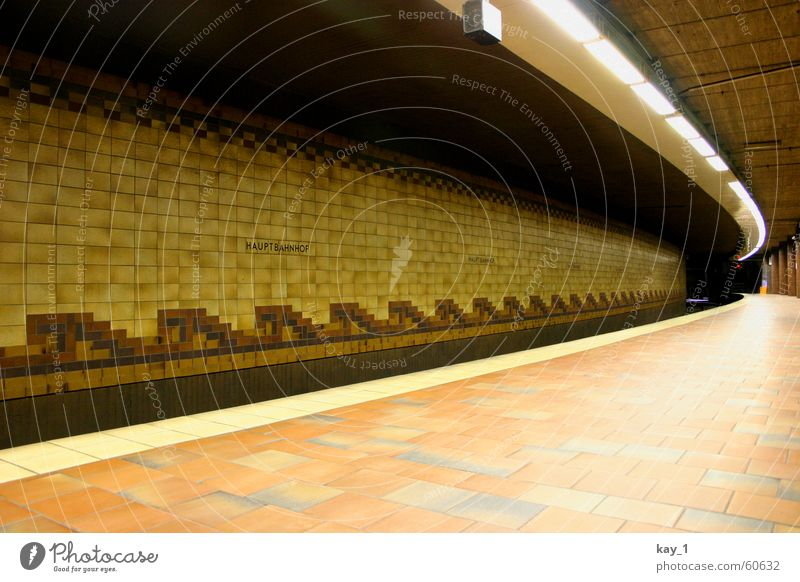 Well tiled Hamburg Train station Public transit Railroad Commuter trains Underground Tram Platform Wait Cold Loneliness Empty Tile Station alone