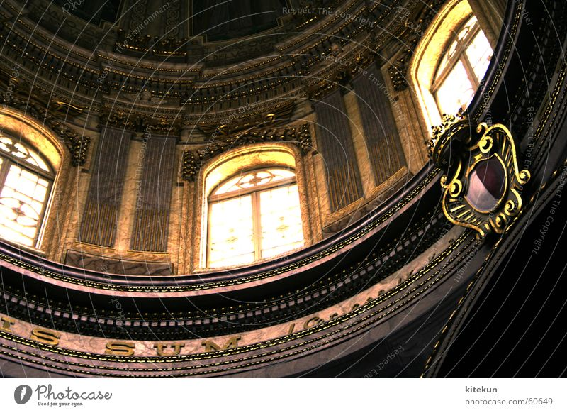 The DaVinci Hype Malta Domed roof Window Light Coat of arms Religion and faith Art Cathedral Gold Latin Characters Architecture Interior shot Detail