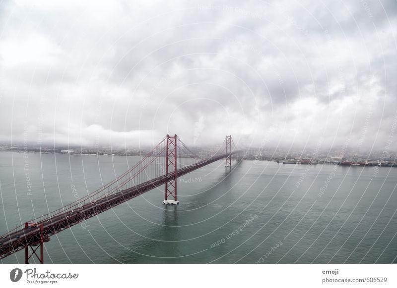 Foggy Environment Autumn Bad weather Storm Coast Ocean Town Bridge Tourist Attraction Landmark Dark Gray Lisbon Golden Gate Bridge San Francisco Colour photo