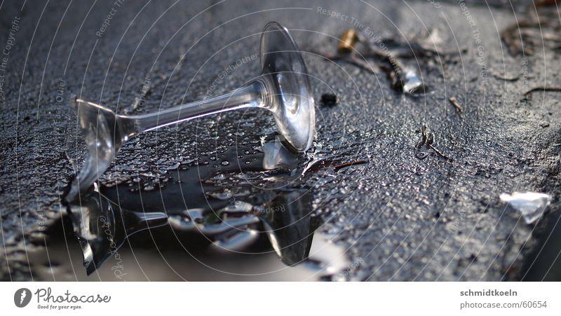 Water Happy Glass Broken Asphalt Broken Puddle Sparkling wine Shard Champagne glass Shatter