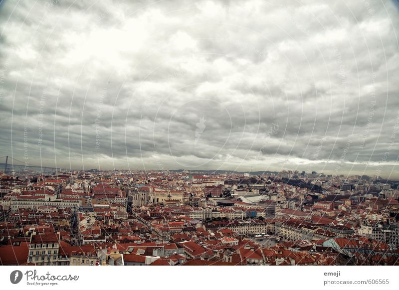 Lisboa II Sky Clouds Town Capital city Old town Populated House (Residential Structure) Dark Lisbon Colour photo Exterior shot Aerial photograph Deserted Day