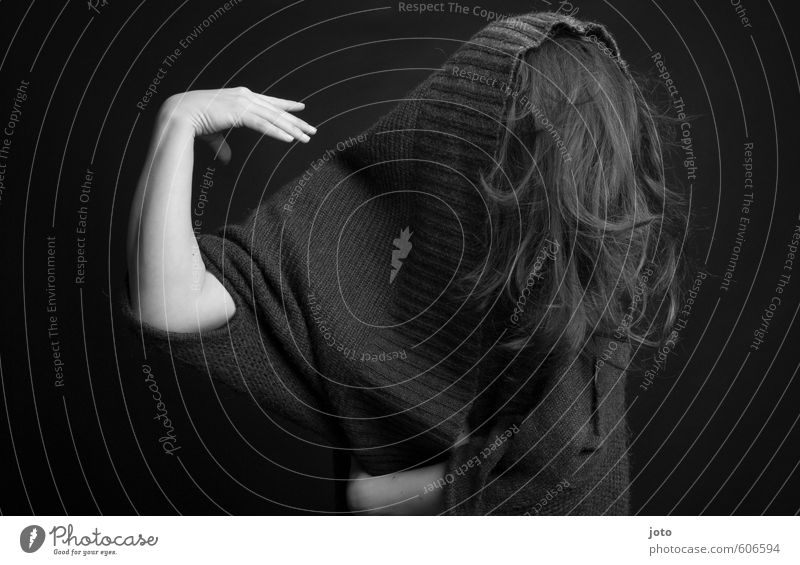 black-white IV Woman Adults Hair and hairstyles Sweater Movement Dance Dark Creepy Gloomy Crazy Feminine Wild Euphoria Power Humble Grief Pain Guilty Shame