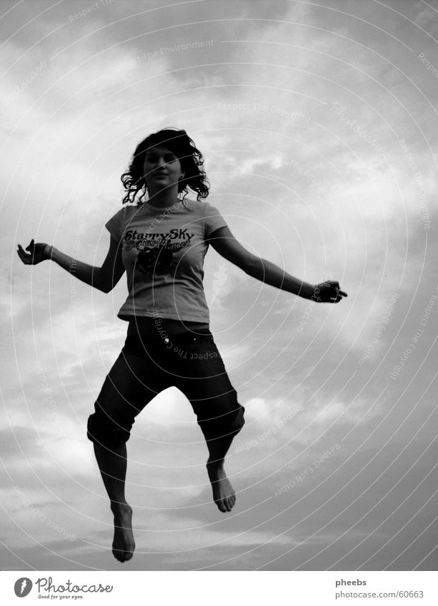 free jump Woman Black Gray White Human being Jump Clouds Moody Sky Free Freedom