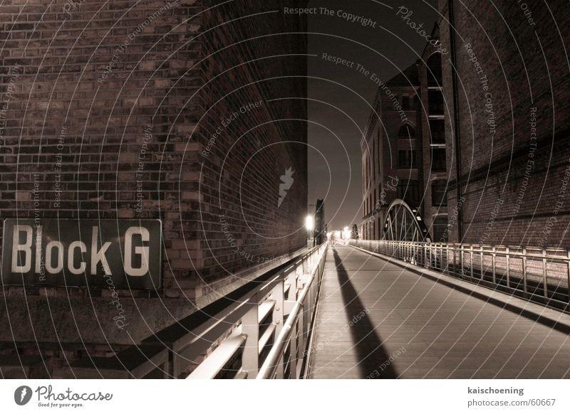 Hamburg Blog G Port City Light block g Bridge Black & white photo Moody Stone Building Shadow