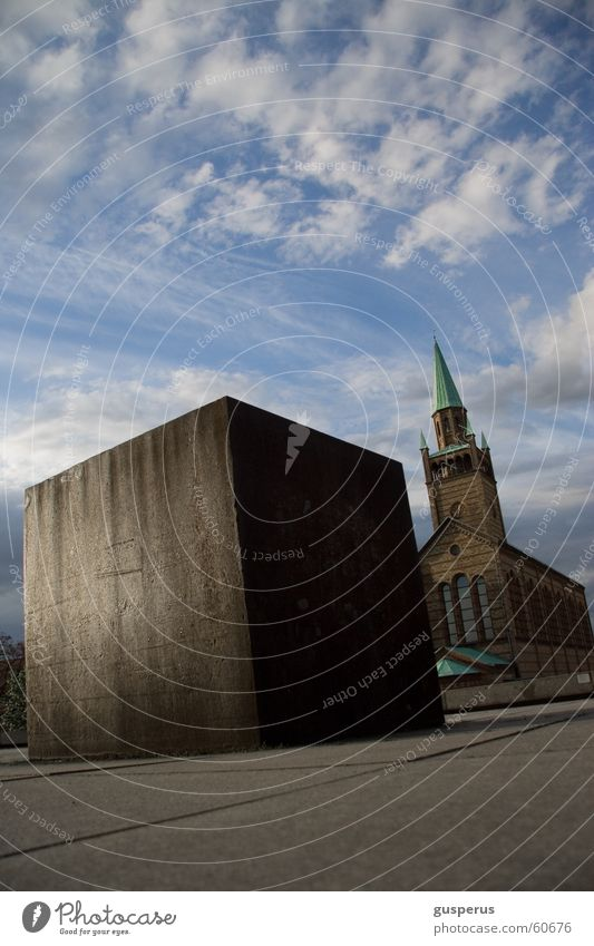 Sky Sun Blue Clouds Colour Berlin Religion and faith Architecture Concrete Modern Square Steel Manmade structures Geometry