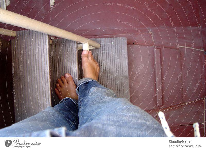 Feet Jeans Ladder Sailboat Downfall